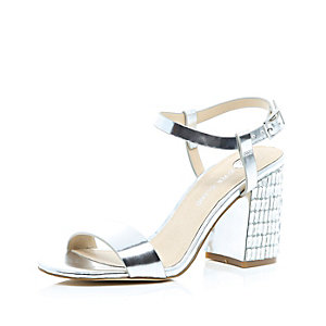 Silver gem block heel sandals