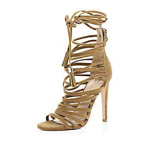 Tan brown strappy heeled sandals