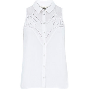 White crepe cutwork sleeveless shirt