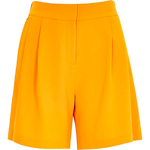 Orange smart high waisted shorts
