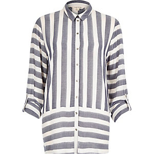 Blue stripe loose shirt