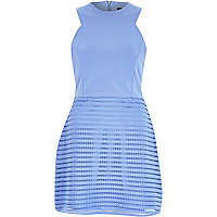 Blue textured sleeveless A-line dress