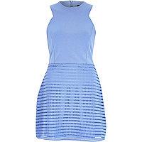 Blue textured sleeveless A-line dress