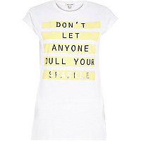 White sparkle print fitted t-shirt