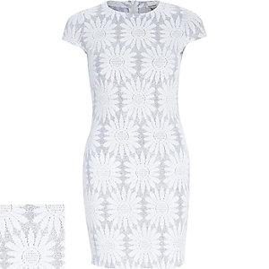 Silver sparkly jacquard bodycon dress
