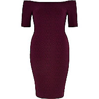 Dark red textured bardot 3/4 sleeve dress