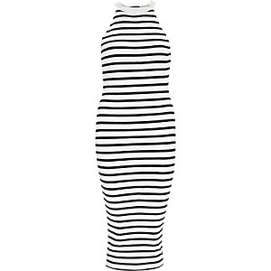 Black stripe midi bodycon dress