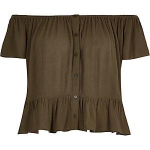 Khaki crepe bardot top