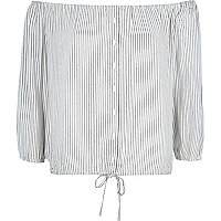 Cream stripe bardot shirt top
