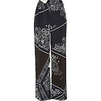 Navy bandana print wide leg trousers