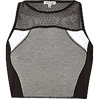 Grey mesh panelled crop top