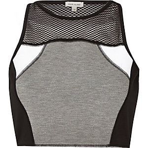 Grey mesh panelled crop top