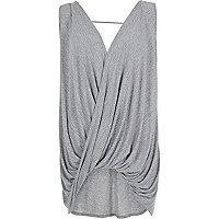 Grey sleeveless drape front top