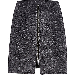 Grey zip front skirt