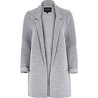 Grey ribbed jersey longline blazer