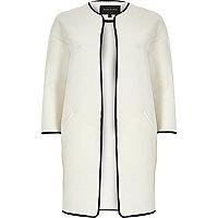 White mesh jersey collarless jacket