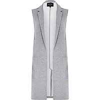 Light grey jersey sleeveless jacket