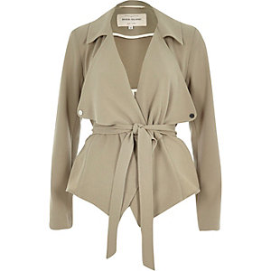 Khaki cropped drape trench jacket