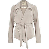 Grey cropped drape trench coat