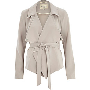 Grey cropped drape trench jacket