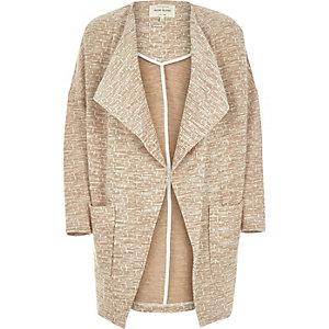 Beige jersey drape slouchy coat
