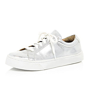 Silver lace up trainers