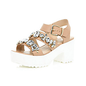 Nude chunky gem embellished sandals