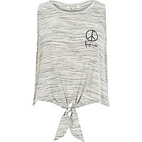 Grey peace embroidered tie front vest