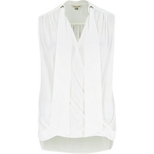 White pussybow wrap blouse