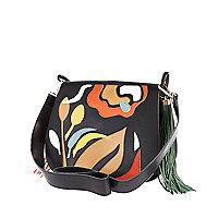 Black leather retro saddle handbag