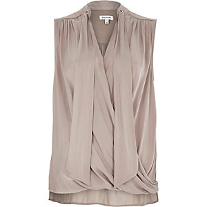 Mink pussybow wrap blouse