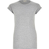 Plain grey fitted roll cuff t-shirt