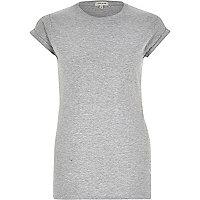 Plain grey fitted roll cuff t-shirt