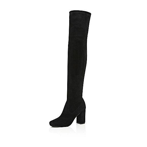 Schwarze Overknee-Stiefel mit Blockabsatz