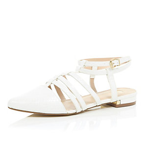 White caged strappy pointed shoes