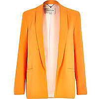 Orange crepe relaxed blazer