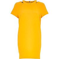 Orange cut out neck shift dress