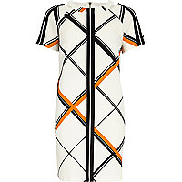 Orange check cut out neck shift dress