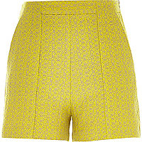 Yellow tweed smart high waisted shorts