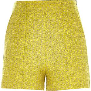 Yellow tweed smart high waisted shorts