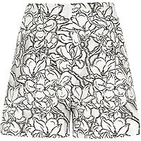 White floral print lace smart shorts