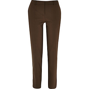 Khaki stitch trim slim trousers