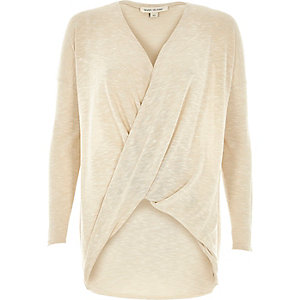 Light beige wrap front top