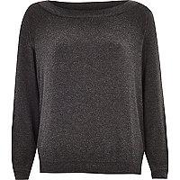 Grey bardot jersey sweatshirt