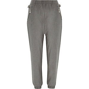 Grey zip side joggers