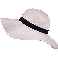 Pink oversized floppy fedora hat