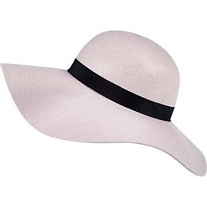 Nude pink oversized floppy fedora hat
