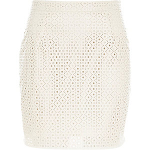 White leather-look laser cut mini skirt