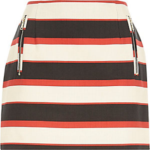 Red woven stripe mini skirt
