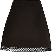 Black mesh hem mini skirt